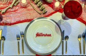 Red and White Halloween Table