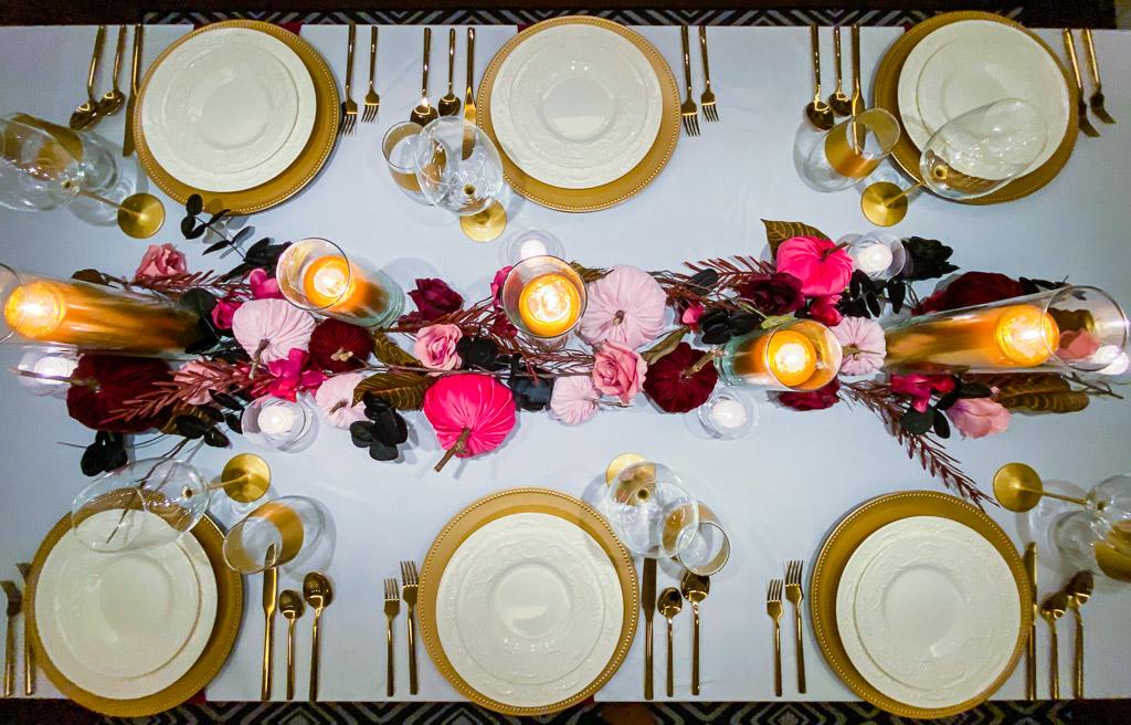 decorations ideas, modern fall table decor, burgundy velvet pumpkins, creme velvet pumpkins, blush pink velvet pumpkins, DIY velvet pumpkins, velvet pumpkins decor, velvet pumpkin decor, fall decor ideas, diy fall decor ideas, fall decor ideas for home, Wedgwood china, gold charger, gold rimmed wine glasses, gold flatware, gold pillar candles, gold utensils, white tablecloth