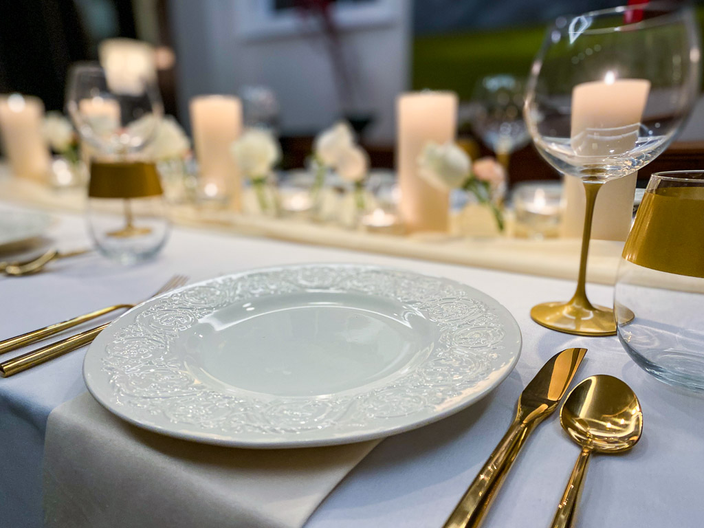modern table setting with vintage china