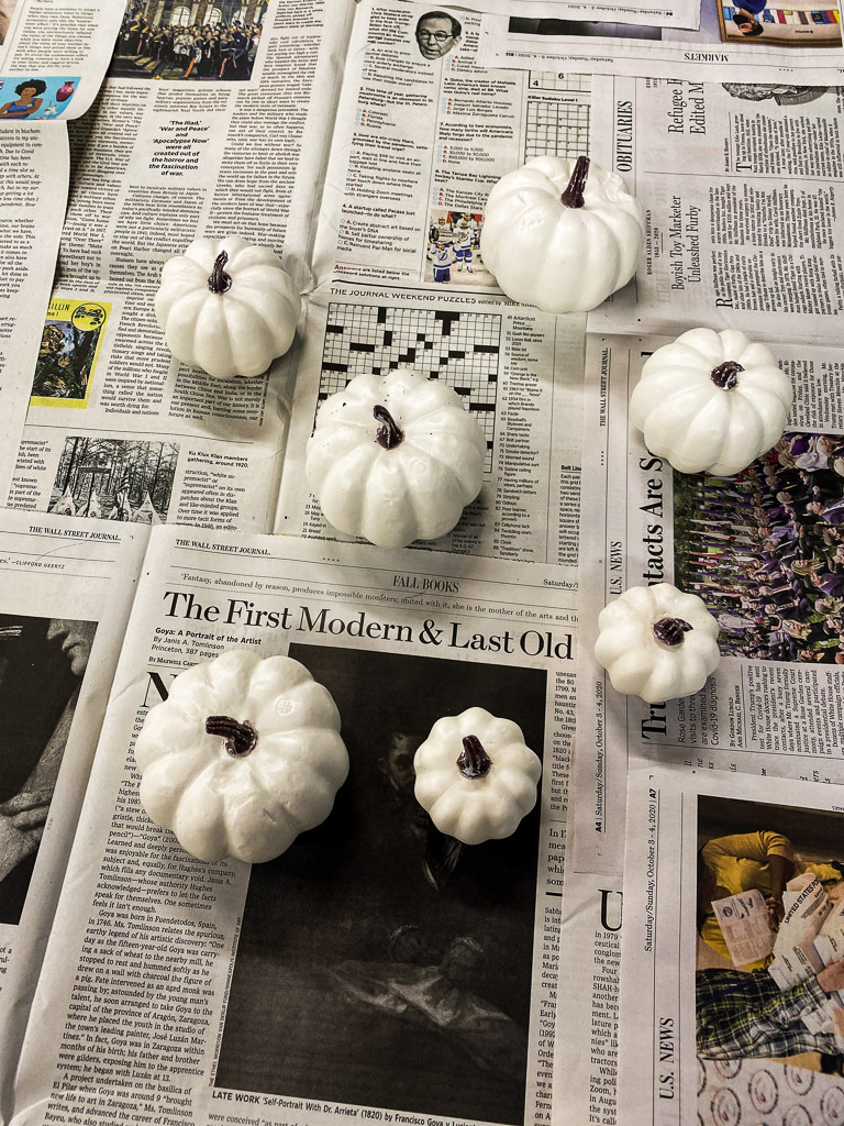 how to paint pumpkins, white pumpkins, DIY fall decor, copper pumpkins, how to paint white pumpkins, how to make copper pumpkins