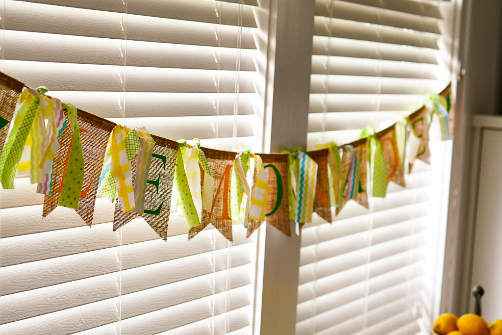 A DIY burlap banner is an adorable addition to this lemon theme party ideas, it's also a perfect DIY lemonade stand idea. We created this as part of one of our great summer party themes featuring nonalcoholic lemonade drinks, as well as the best limoncello recipe and lemonade cocktails. All cute lemonade stand ideas, diy party decoration, summer crafts, diy event.